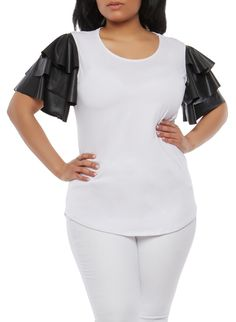 Plus Size Tiered Faux Leather Sleeve Top,WHITE