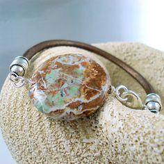 Leather Bracelet Golden Turquoise Bracelet Natural by LeatherShop3,