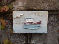 Nautical clay wall hanging, art, plaque, clay fishing boat mounted on reclaimed…