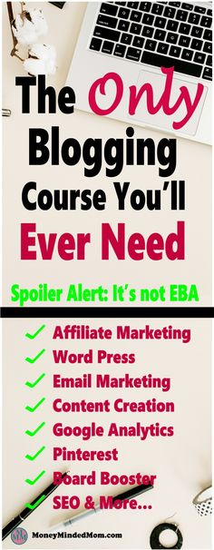The ONLY Blogging Course You'll Ever Need ~ Blogging courses can be super expensive, everytime you want to learn something new, you have to buy yet another course. Not with this course, it has everything you need to make money blogging. Click on over to learn more.  affiliate | marketing |blogging | blogging for beginners | make money blogging | email | SEO | Pinterest #blog #bloggingforbeginners #makemoneyblogging #affiliatemarketing
