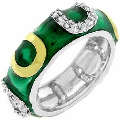 Dark Green Enamel Horseshoe Ring White Gold Rhodium Bonded, Gold Bonded Horseshoes and Dark Green Enamel Overlay with Handset Clear CZ Eternity Ring Horseshoe Ring, Gold Plated Rings, Gadget Gifts, Size 10 Rings, Silver Enamel, Silver Ring, Fashion Rings, Fashion Jewelry, Band Rings