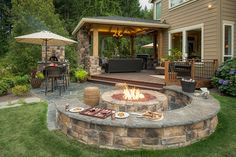 The Wheeler Property Fire Pit Designs is a must see landscape design with Attached gazebo outdoor living room and kitchen, firepit with seatwalls Backyard Seating, Backyard Landscaping, Landscaping Design, Backyard Covered Patios, Covered Porches, Covered Patio Design, Fire Pit Seating, Covered Decks, Outdoor Seating Areas