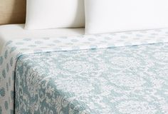 One Kings Lane - Layer Your Bed - King Provincial Quilt, Blue - #WILLIAMSBURG Providence Damask from @C & F Enterprises