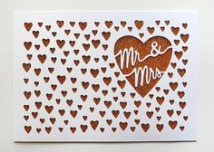 Papercut Greeting Card - Mr & Mrs Tiny Hearts Pattern - Wedding or Anniversary Handcut Card via SarahTrumbauer on Etsy