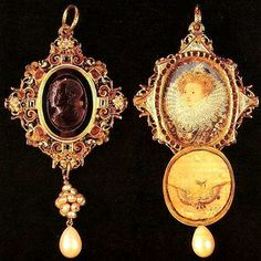 SIR FRANCIS DRAKE JEWEL. The medallion dates c 1575, but the inset miniature of Queen Elizabeth I was executed by Nicholas Hilliard about a decade later. Family tradition records that Elizabeth I gave this Sir Francis Drake jewel to him sometime between 1540-1595. Although the date on the jewel appears to be 1586, it possibly was given later in commemoration of Drake's role in the defeat of the Spanish Armada in 1588.