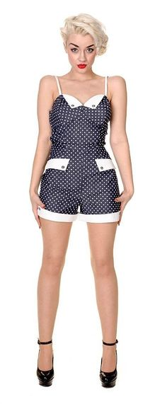 Combishort Playsuit Rockabilly Pin-Up Rétro Pois