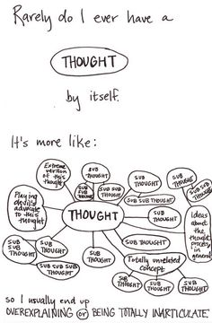 """Rarely do I ever have a thought by itself.."""