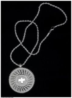 Ben Nighthorse, Moon Eagle Pendant,  2 3/16 x 2 x 3/8 inches, sterling silver. At the Gerald Peters Gallery, Santa Fe, NM.
