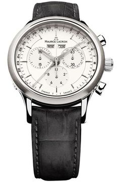 Maurice Lacroix Les Classiques Silver Dial Chronograph Black Leather Men's Watch (W-LC1008-SS001-130)