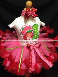 Strawberry shortcake tutu set oval age name by on Etsy Strawberry Shortcake Birthday, Short Cake, 2nd Birthday Party Themes, Twins 1st Birthdays, Baby Girl Birthday, Jenni, Mary, Girls, Strawberry Shortcake Party Supplies
