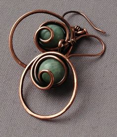 Amazonite Wire Wrapped in Copper Wire Earrings