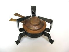 Vintage camping alcohol stove - cooper and iron