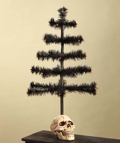 Black Feather Tree in Skull | Halloween Party Tree Decoration