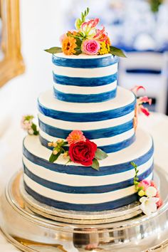 A Nautical Coral and Navy Wedding | Courtney Bowlden Photography | Striped Cake