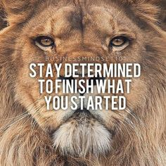 Stay determined to finish what you started.