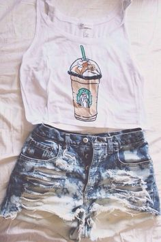 Starbucks and high waisted shorts are basically a common white girls life