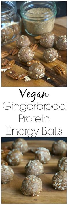 Protein Balls These Vegan Gingerbread Protein Energy Balls are simple and nutritious and make a great snack, workout fuel or dessert!These Vegan Gingerbread Protein Energy Balls are simple and nutritious and make a great snack, workout fuel or dessert! No Bake Snacks, Easy Snacks, Yummy Snacks, Yummy Food, Yummy Eats, Delicious Desserts, Protein Snacks, Healthy Snacks, Healthy Eating