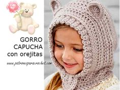 Hood for Children with Teddy Ears - Gorros divertidos y de animales, Funny and Animal hats - Crochet Baby, Free Crochet, Knit Crochet, Animal Hats, Kids Hats, Crochet Cardigan, Crochet For Beginners, Crochet Patterns, Winter Hats