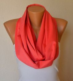 Pink coral upcycling cotton jersey infinity scarf circle by bstyle, $20.00