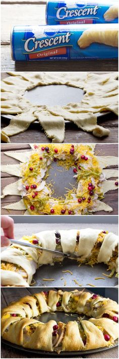 Make a beautiful Thanksgiving Dinner Crescent Ring using leftovers and Pillsbury Crescents.