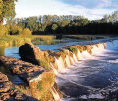 Venta Waterfall, the widest waterfall in Eastern Europe. Kuldiga, Eastern Latvia.