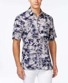 Tasso Elba Tropical-Print Shirt, Only at Macy's