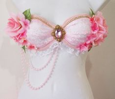 Pink Garden Fairy Rave Bra Pink Flowers Pink Trim by RevoltCouture