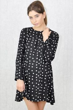 Swing Dress, Polka Dot Top, Dresses With Sleeves, Long Sleeve, Collection, Tops, Women, Fashion, Polka Dot Shirt