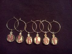 Wine MERLOT Stemware Charm Set of 6!!