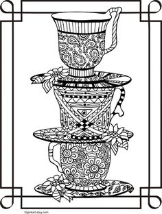 Tea for Three Adult coloring page by triginkart on Etsy