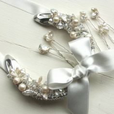 wedding horseshoe with ivory satin bow pearls & crystals