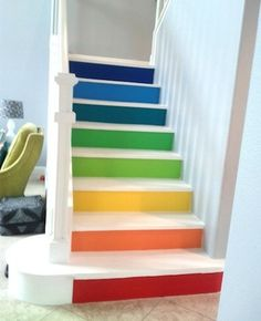 Does your staircase need sprucing up? Here are some ideas for Painted Stairs and other great staircase makeovers. Painted Stair Risers, Painted Staircases, Staircase Painting, Home Stairs Design, House Design, Staircase Pictures, Staircase Ideas, Book Staircase, Banister Ideas