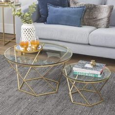 New Geometric Glass Nesting Coffee Tables in Gold: gold coffee table, gold table, marble nesting tables, gold round nesting tables, antique. Round Glass Coffee Table, Cool Coffee Tables, Coffee Table Design, Modern Coffee Tables, Glass Table, Nesting End Tables, Living Room Table Sets, Modern Rustic Decor, Modern Bohemian