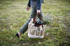 Awww a garden bag! // via Kinfolk Magazine Journal // Apolis + Kinfolk Garden Bag Sewing Patterns Free, Free Sewing, Kinfolk Magazine, Garden Bags, Picnic Bag, Summer Picnic, Fall Picnic, Garden Picnic, Fashion Bags