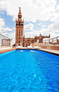 Terrace at EME Catedral Hotel (Seville), where the Giralda would dive in...