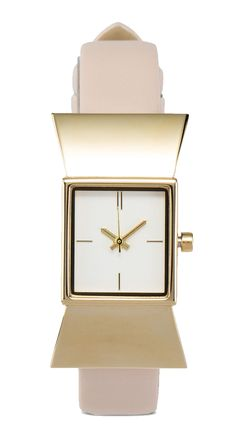 Bow Tie Face Watch by ZALORA. unique shape case made from stainless steel, synthetic leather strap, analog watch with a combination of gold and nude color, strap length 24 cm, diameter 1.6 cm, cute watch for everyday use. http://www.zocko.com/z/JIwdA