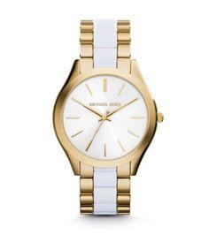Slim Runway Gold-Tone Acetate Watch | Michael Kors