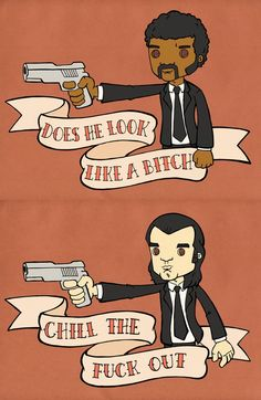 Pulp Fiction - Jules Winnfield and Vincent Vega caricatures #GangsterMovie #GangsterFlick