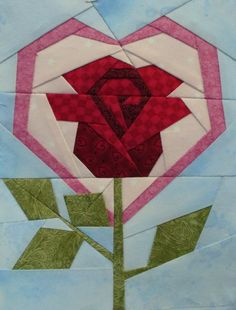 Rose paper pieced quilt block, would be good for a pink ribbon quilt
