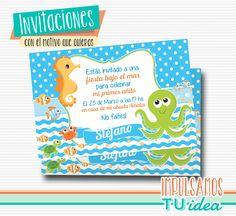 Animales bajo el mar, invitación animales de mar imprimible