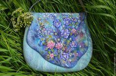 """Купить """" Сны луговых ветров """". - голубой, цветочный, валяная сумка, Мокрое валяние"""
