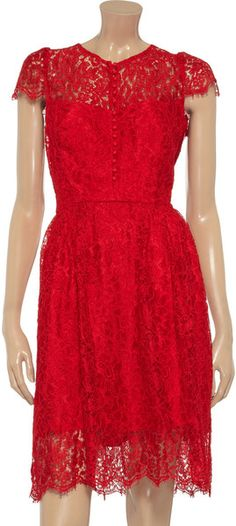 Issa Lace Dress in Red  Not sure how I feel about the buttons down the front...