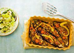 gevulde aubergines met vegetarisch gehakt