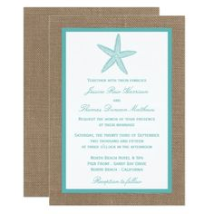 Turquoise Starfish Burlap Beach Wedding Collection Invitation We share the best of boho wedding inspiration styled shoots engagements styling ideas real weddings decor save the date cards invitations favors and more. Nautical Wedding Invitations, Rehearsal Dinner Invitations, Destination Wedding Invitations, Wedding Invitation Cards, Bridal Shower Invitations, Wedding Rehearsal, Invites, Party Invitations, Modern Invitations