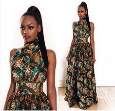 Cou de Halter Ankara Maxi robe par Africandressshop sur Etsy