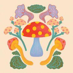 Mushroom Digital Art Print Instant Download 8x8, 8x10 and 5x7