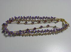 Foot Bracelet Anklet Crochet Knitting 3 lines of by MeravBeads