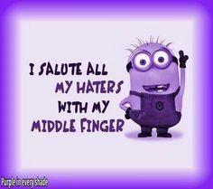 Purple Minion flippin the bird