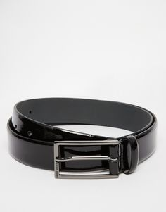 """Belt by Hugo Boss Patent leather Pin buckle fastening Single keeper Etched branding Wipe clean 100% Leather Width: 3cm/1"""""""