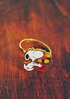 Vintage Peanuts Snoopy Ring by ScavengersVintage on Etsy, $3.00